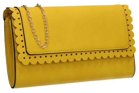 SwankySwans Megan Clutch Bag Yellow Clutch Bag Faux Leather Flapover Faux Leather Yellow