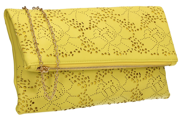 SWANKYSWANS Lena Clutch Bag Yellow Cute Cheap Clutch Bag For Weddings School and Work