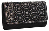 SWANKYSWANS Sophie Diamante Clutch Bag Black Cute Cheap Clutch Bag For Weddings School and Work