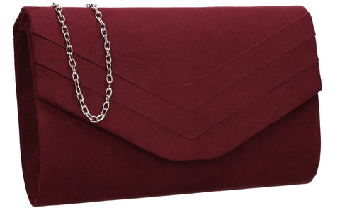 SWANKYSWANS Samantha V Detail Clutch Bag Burgundy Cute Cheap Clutch Bag For Weddings School and Work