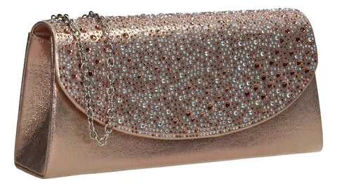 SwankySwans Rita Diamante Clutch Bag Champagne Clutch Bag Flapover Party Satin