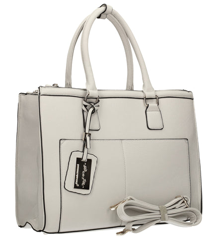 Naples Cosmo City Work Bag - Light Grey-Handbags-SWANKYSWANS
