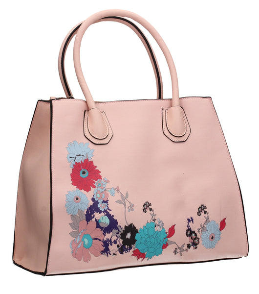 Hanna Floral Handbag Pale PinkBeautiful Cute Animal Faux Leather Clutch Bag Handles Strap Summer School