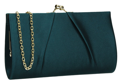 Katy Satin Clutch Bag Teal-Clutch Bag-SWANKYSWANS