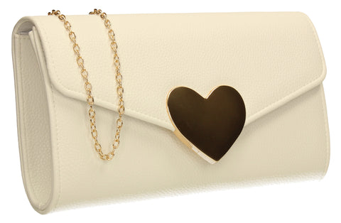 SWANKYSWANS Corrie Heart Clutch Bag White Cute Cheap Clutch Bag For Weddings School and Work