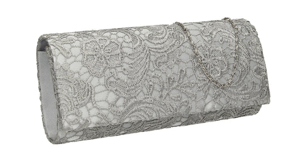 SWANKYSWANS Rachel Lace Clutch Bag Silver Cute Cheap Clutch Bag For Weddings School and Work