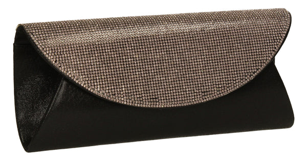 SwankySwans Merylin Clutch Bag Black Clutch Bag Diamante Flapover Night Out Party