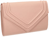SWANKYSWANS Ashby Envelope Clutch Bag Pink Beige Cute Cheap Clutch Bag For Weddings School and Work