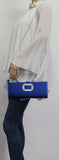 Kerr Satin Clutch Bag Royal Blue-Clutch Bag-SWANKYSWANS