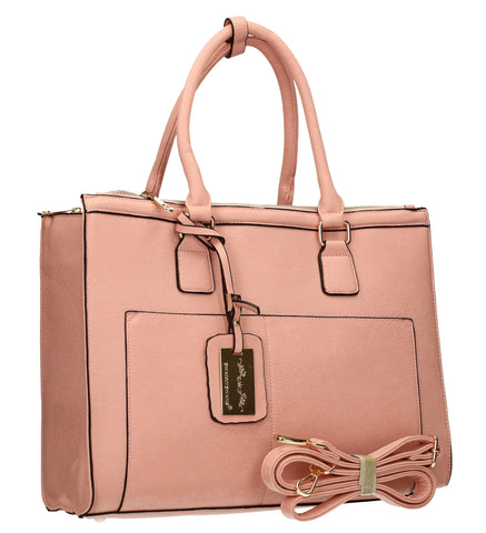 Naples Cosmo City Work Bag - Pink-Handbags-SWANKYSWANS