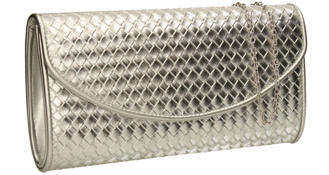SWANKYSWANS Anny Weave Flapover Clutch Bag Silver Cute Cheap Clutch Bag For Weddings School and Work