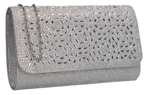SWANKYSWANS Sophie Diamante Clutch Bag Silver Cute Cheap Clutch Bag For Weddings School and Work