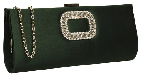 Kerr Satin Clutch Bag Green-Clutch Bag-SWANKYSWANS