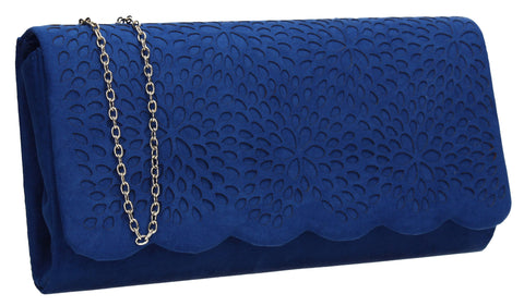 SWANKYSWANS Allison Suede Clutch Bag Royal Blue Cute Cheap Clutch Bag For Weddings School and Work