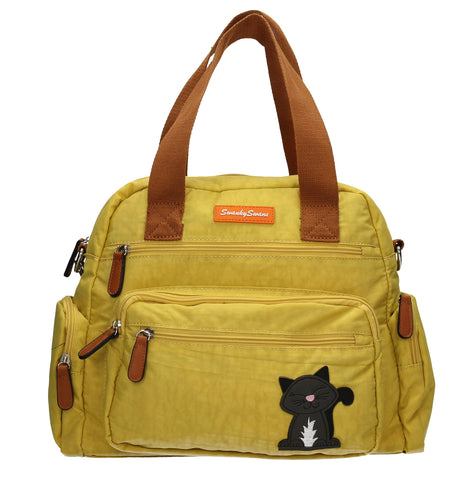 Kempton Shoulder Bag with Lola Cat Motif - Mustard-Handbags-SWANKYSWANS