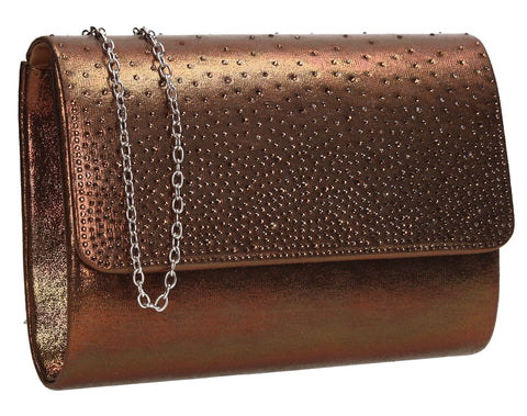 SWANKYSWANS Natalie Diamante Clutch Bag Bronze Cute Cheap Clutch Bag For Weddings School and Work
