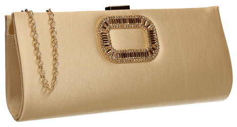 Kerr Satin Clutch Bag Gold-Clutch Bag-SWANKYSWANS