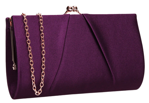 Katy Satin Clutch Bag Purple-Clutch Bag-SWANKYSWANS