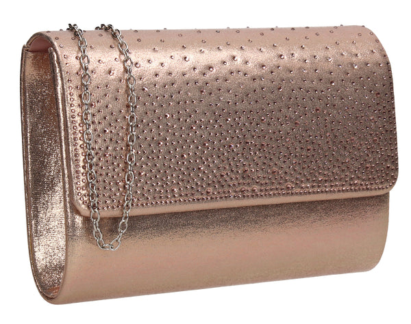 SWANKYSWANS Natalie Diamante Clutch Bag Gold Cute Cheap Clutch Bag For Weddings School and Work