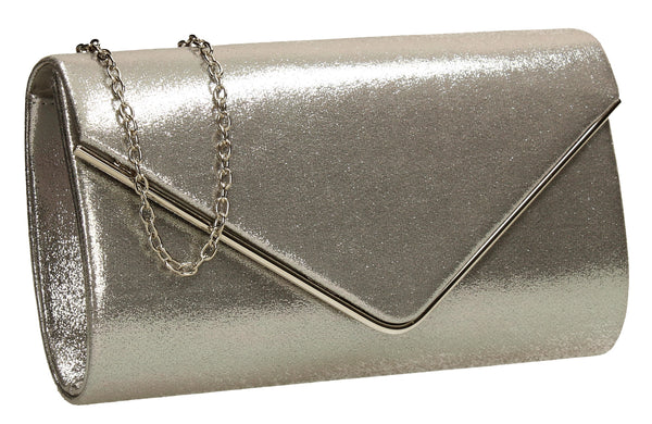 SWANKYSWANS Olivia Clutch Bag Silver Cute Cheap Clutch Bag For Weddings School and Work