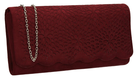SWANKYSWANS Allison Suede Clutch Bag Burgundy Cute Cheap Clutch Bag For Weddings School and Work