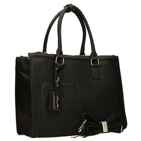 Naples Cosmo City Work Bag - Black-Handbags-SWANKYSWANS