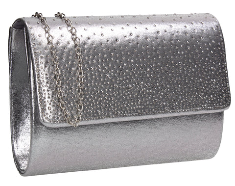 Natalie Diamante Clutch Bag Silver