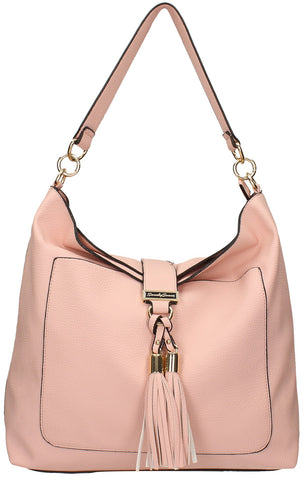 Tasmania Tassel Shoulder Bag - Pink-Handbags-SWANKYSWANS