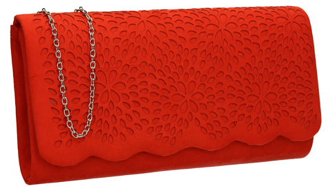 SWANKYSWANS Allison Suede Clutch Bag Scarlet Orange Cute Cheap Clutch Bag For Weddings School and Work