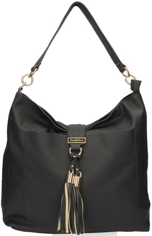 Tasmania Tassel Shoulder Bag - Black-Handbags-SWANKYSWANS