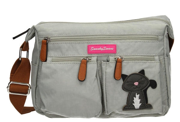 Norma Shoulder Bag with Cat Motif - Light Grey-Handbags-SWANKYSWANS