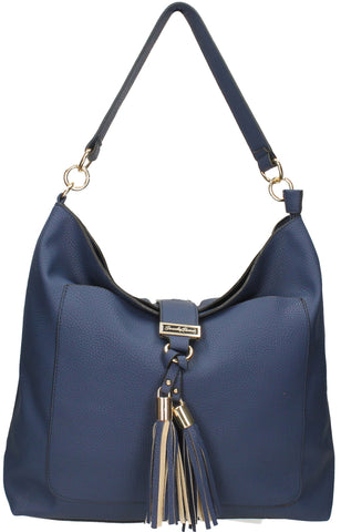 Tasmania Tassel Shoulder Bag - Navy Blue-Handbags-SWANKYSWANS