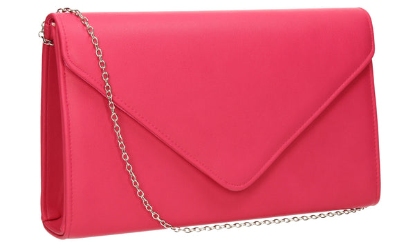 SWANKYSWANS Jenny Envelope Clutch Bag Fuschia Cute Cheap Clutch Bag For Weddings School and Work