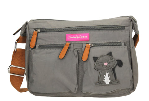 Norma Shoulder Bag with Cat Motif - Dark Grey-Handbags-SWANKYSWANS