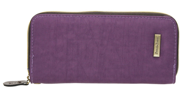 Riley Nylon Long Zip-Around Purse - Purple-Purse-SWANKYSWANS