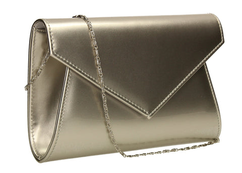 SWANKYSWANS Chrissy Envelope Clutch Bag Silver Cute Cheap Clutch Bag For Weddings School and Work