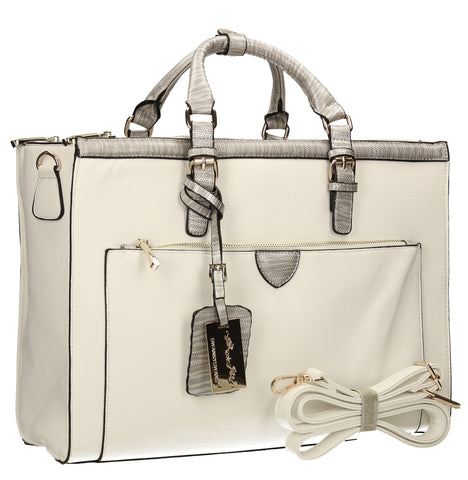 Berlin Faux Work City Bag Handbag - White-Handbags-SWANKYSWANS