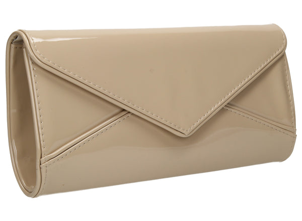 Perry Patent Clutch Bag - Nude-Clutch Bag-SWANKYSWANS