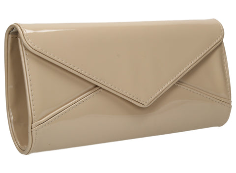 SWANKYSWANS Perry Patent Clutch Bag - Beige Cute Cheap Clutch Bag For Weddings School and Work