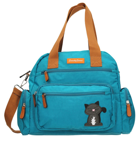 Kempton Shoulder Bag with Lola Cat Motif - Teal-Handbags-SWANKYSWANS