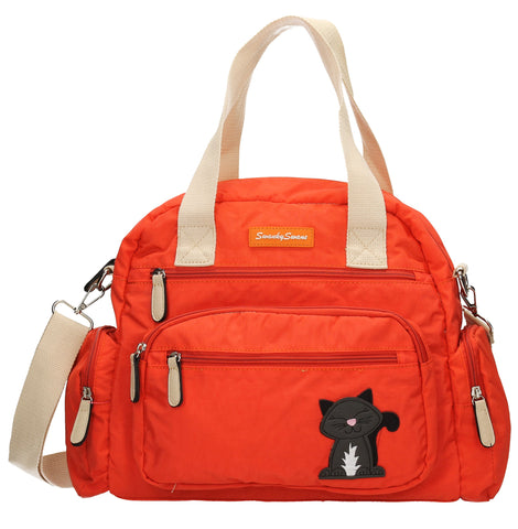 Kempton Shoulder Bag with Lola Cat Motif - Orange-Handbags-SWANKYSWANS