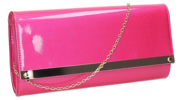 SWANKYSWANS Irene Patent Clutch Bag Fuschia Cute Cheap Clutch Bag For Weddings School and Work