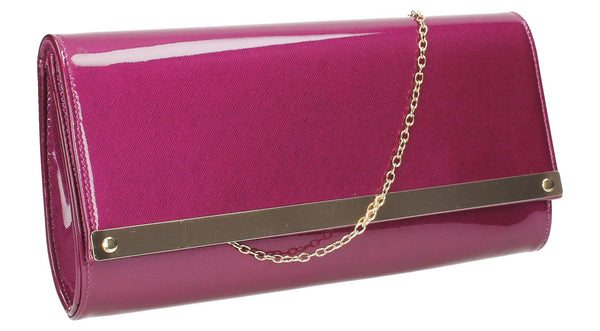 SWANKYSWANS Irene Patent Clutch Bag Purple Cute Cheap Clutch Bag For Weddings School and Work