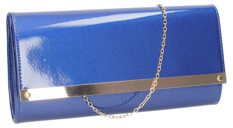 SWANKYSWANS Irene Patent Clutch Bag Royal Blue Cute Cheap Clutch Bag For Weddings School and Work