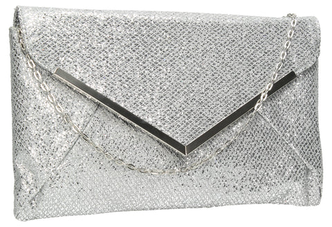SWANKYSWANS Iris Glitter Clutch Bag Silver Cute Cheap Clutch Bag For Weddings School and Work