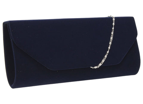 SWANKYSWANS Isabella Velvet Clutch Bag Navy Cute Cheap Clutch Bag For Weddings School and Work