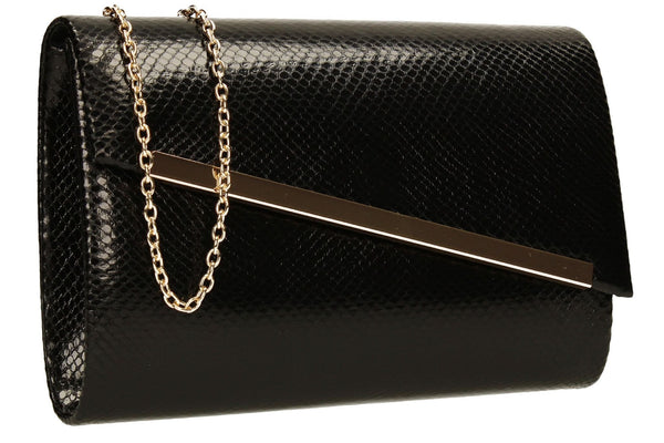 SWANKYSWANS Isla Snakeskin Shiny Clutch Black Cute Cheap Clutch Bag For Weddings School and Work