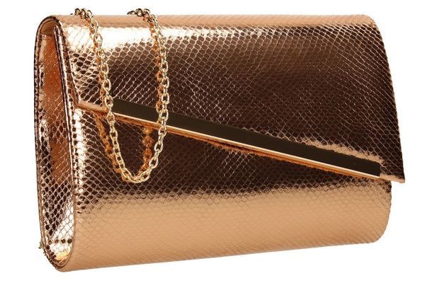 SWANKYSWANS Isla Snakeskin Shiny Clutch Champagne Cute Cheap Clutch Bag For Weddings School and Work