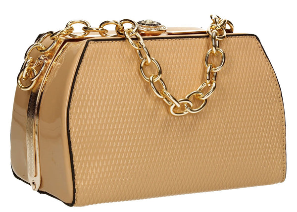 SWANKYSWANS Jayne Patent Frame Clutch Bag Beige Cute Cheap Clutch Bag For Weddings School and Work