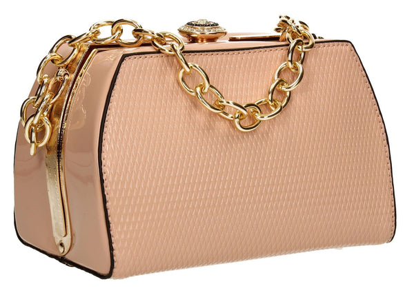 SWANKYSWANS Jayne Patent Frame Clutch Bag Pink Cute Cheap Clutch Bag For Weddings School and Work